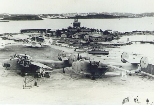 Flying boats of RAF Transport (the two PB2Y Coronado aircraft) and Ferry Commands on the tarmac at RAF Darrell's Island during the Second World War.