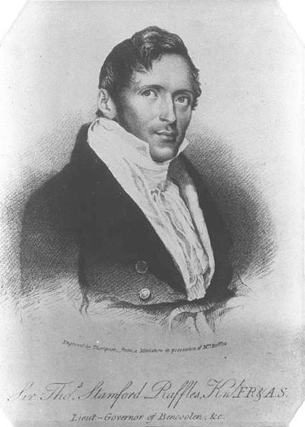 "Thomas Stamford Raffles (""Engraved by Thompson, from a Miniature in posession of Mr. Raffles"")"