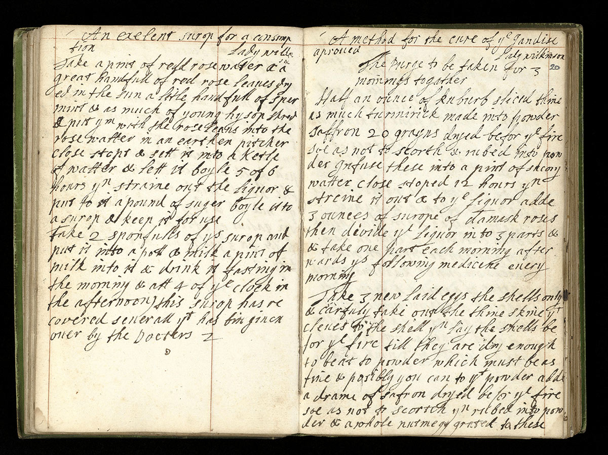 An extract from Bridgett Parker's medical  recipe book, 1663.