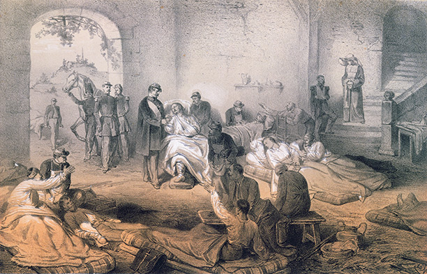 Helping hand: Emperor Napoleon III visits the wounded after the Battle of Solferino