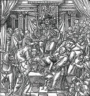 'The Pope Suppressed by K. Henry the Eight'. Frontispiece from the 1631 edition of Actes and Monuments, or Foxe's Book of Martyrs, first published in 1570.