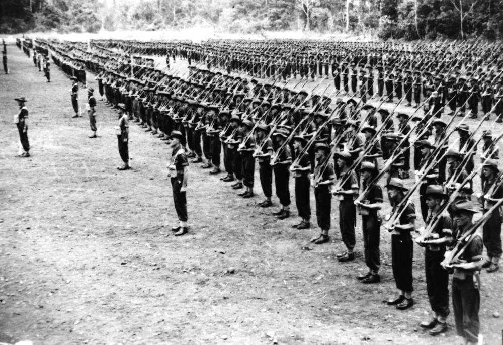 Australian soldiers on parade in New Guinea, c.1944