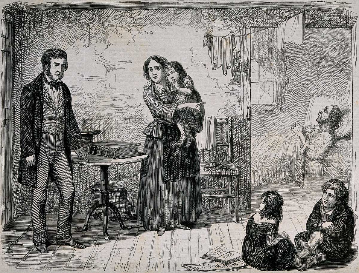 A drunkard stands before his poor family and swears by the Holy Bible. Wood-engraving by J. Johnston, c. 1864, after G. Cruikshank. Wellcome Collection.