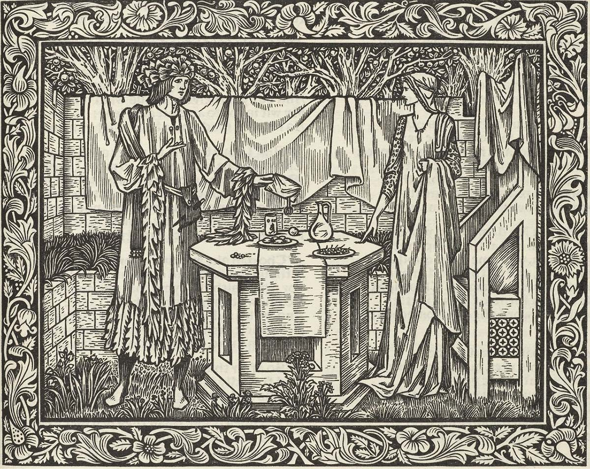 Illustration for The Works of Geoffrey Chaucer, printed by William Morris at the Kelmscott Press, 1896