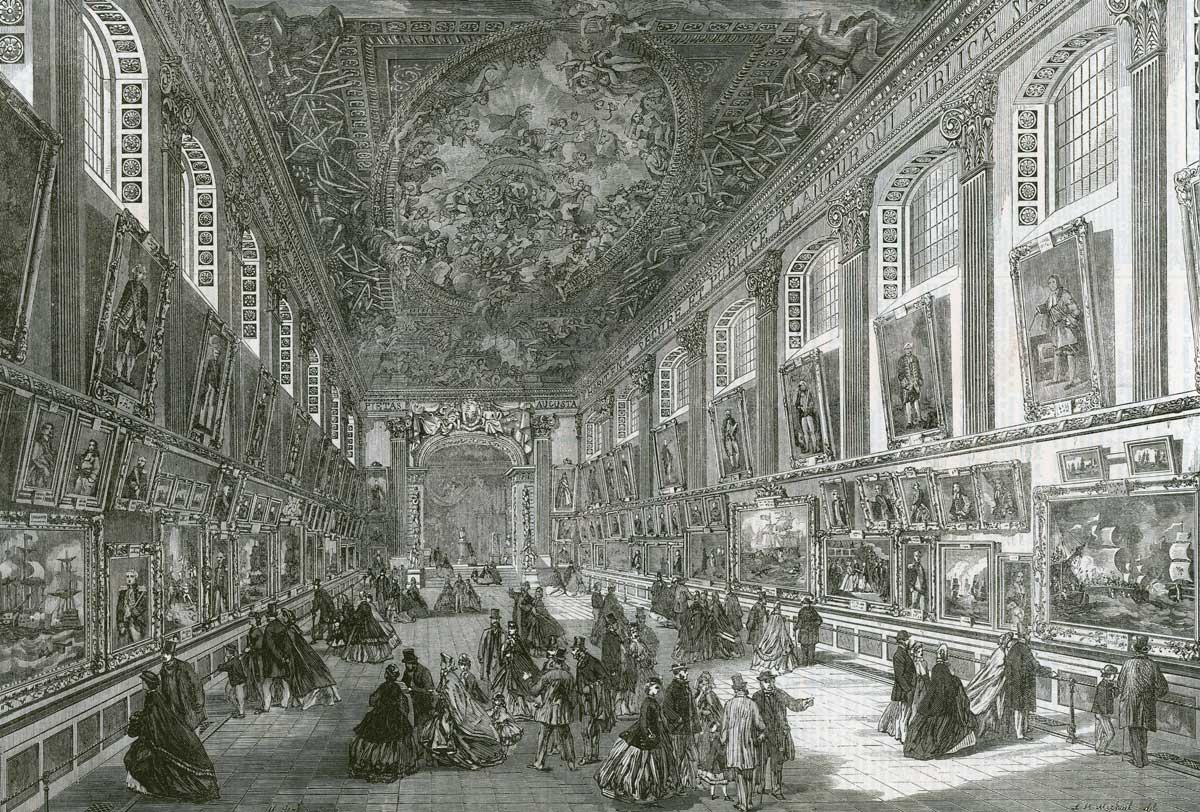 A visit to Greenwich Hospital: the Painted Hall,  Illustrated London News, 22 April 1865 © Bridgeman Images.