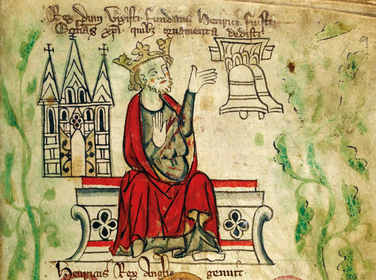 Henry III with representations of Westminster Abbey and  two church bells, from the 'Chronicle of England', by Peter de Langtoft, c.1307-27 © British Library Board/Bridgeman Images.