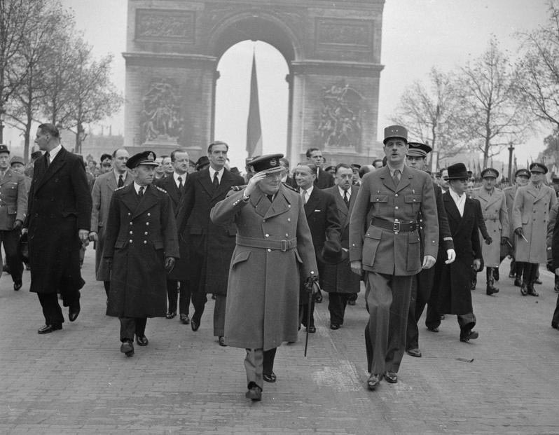 General de Gaulle and Churchill in Paris for the French Armistice Day Parade, 11 November 1944. Wiki Commons.