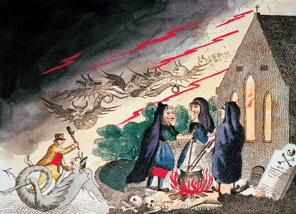 Three witches in a graveyard, English, c.1790 © akg-images.