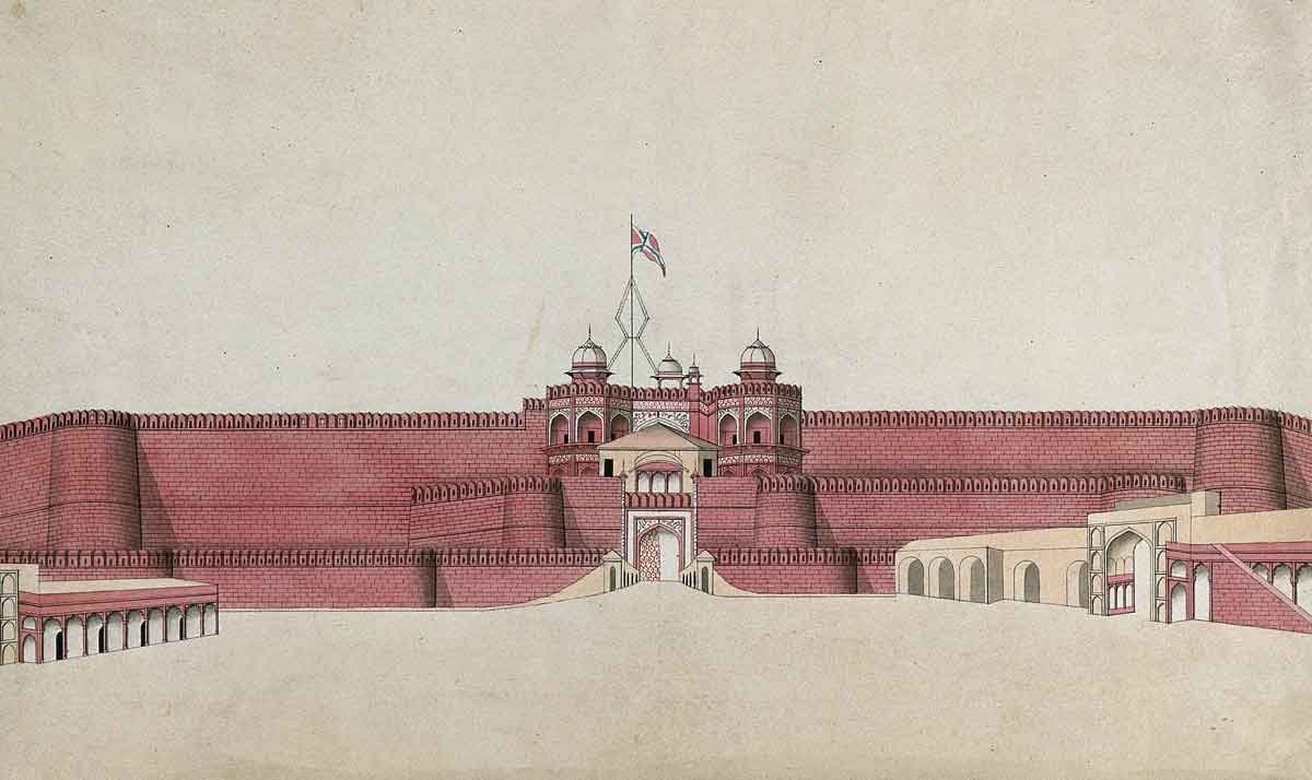 A Mughal Fort, probably in Agra. Watercolour painting by an Indian artist, 19th century. Wellcome Collection.