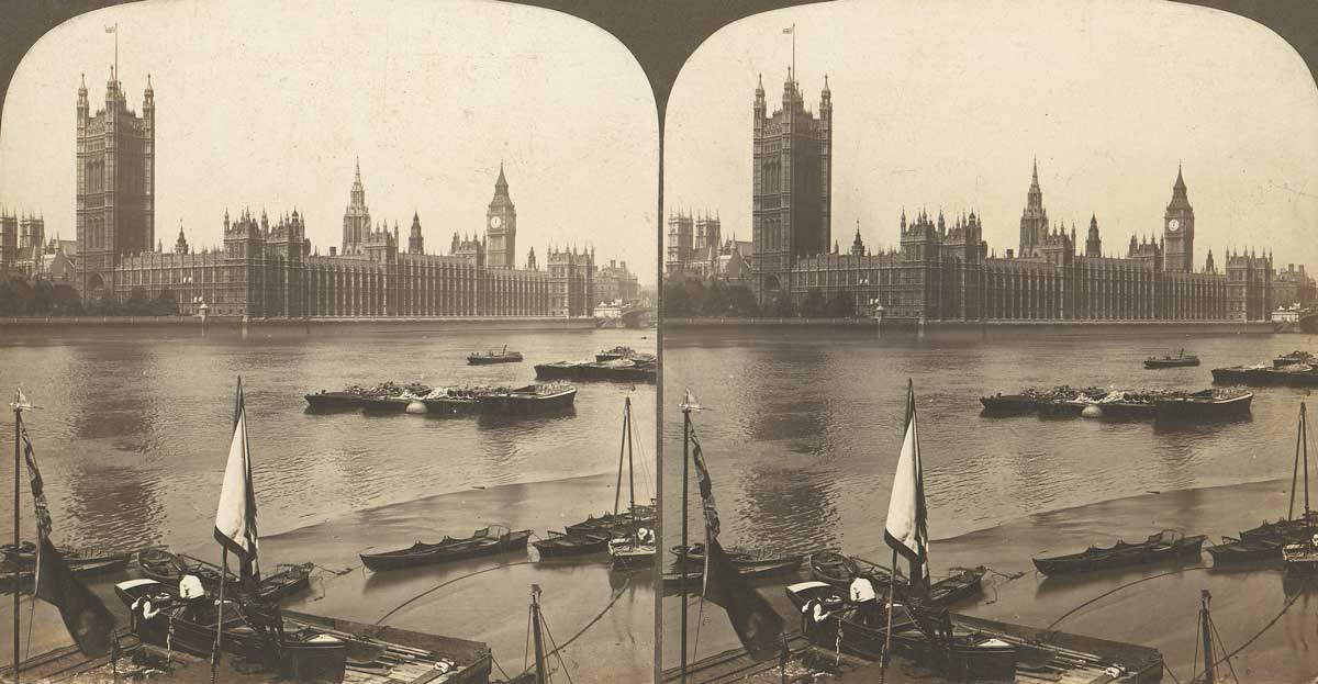 Stereograph View of the Houses of Parliament, 1850s–1910s. Metropolitan Museum of Art.