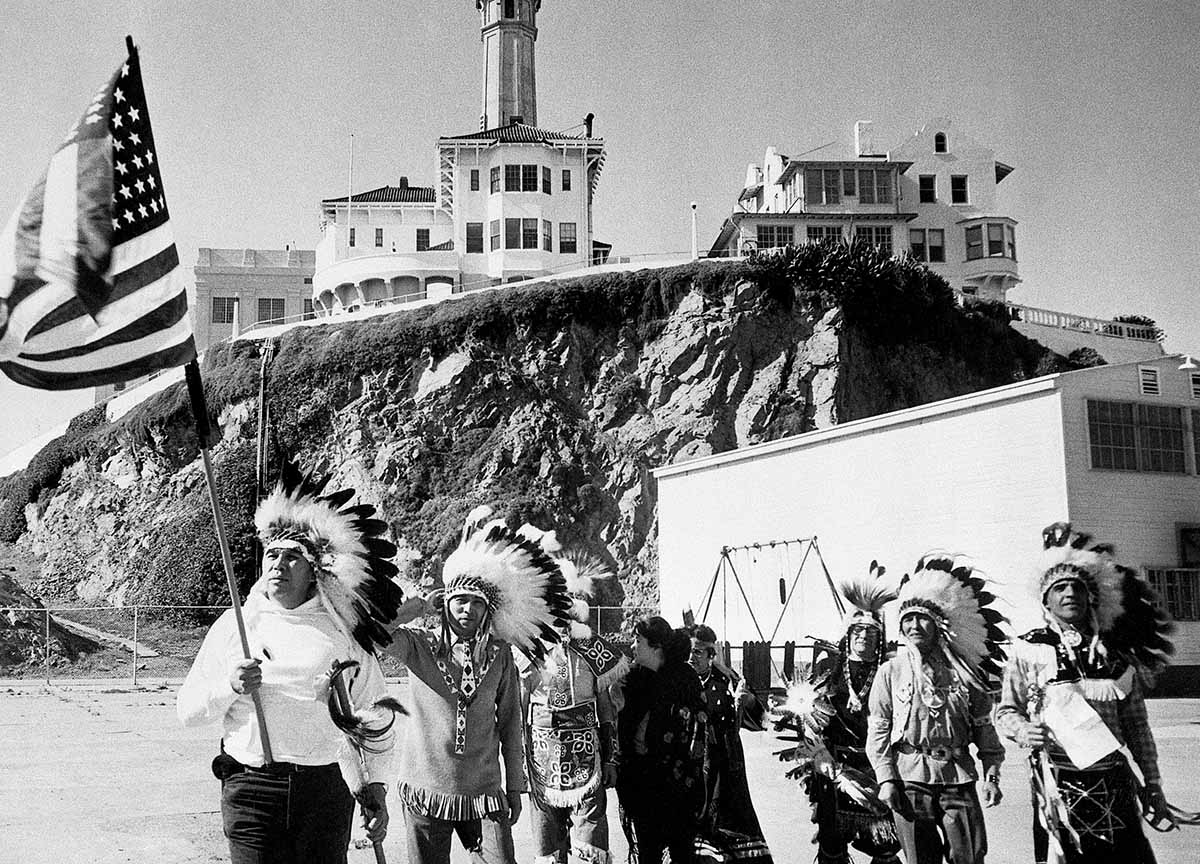 A group of Sioux Indians protests at Alcatraz, 1968 © Getty Images