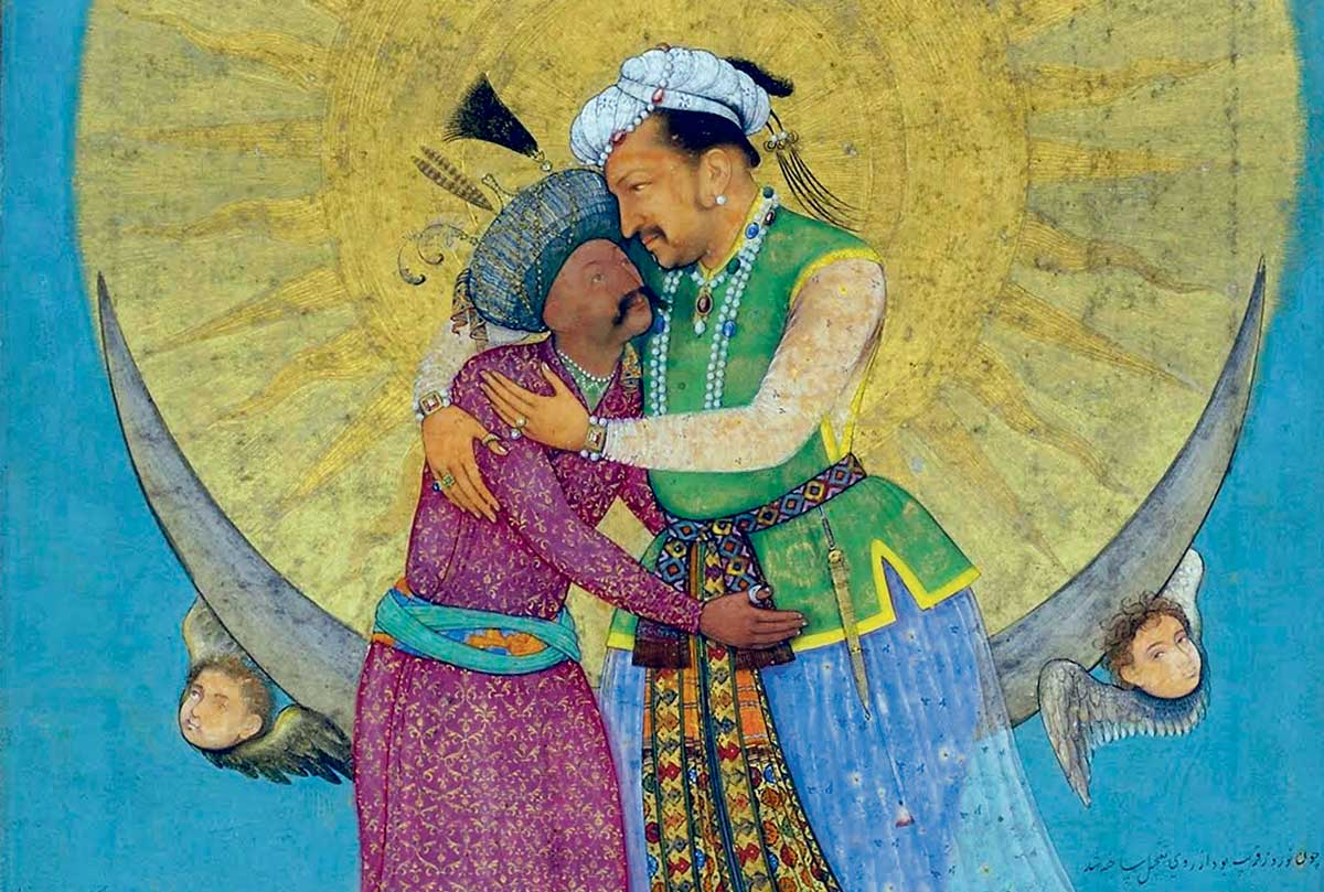 Emperor Jahangir of India (right) and Shah Abbas of Persia embrace, 17th century © Bridgeman Images.