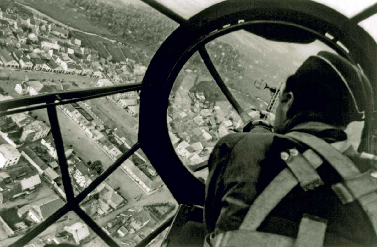 View  of an undamaged Polish city from the cockpit of a German aircraft, October 1939 © Galerie Bilderwelt/Hulton Getty Images.
