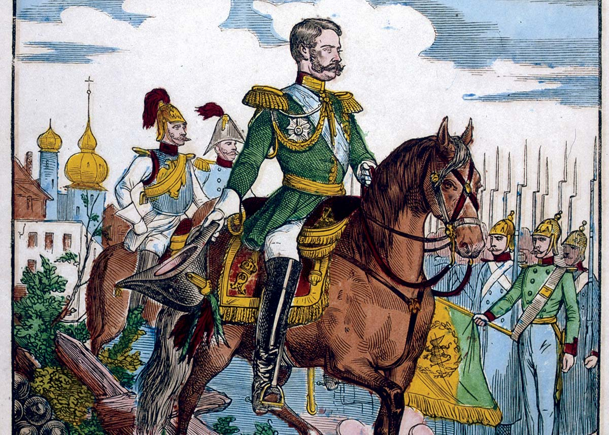 The three horsemen?: Alexander II reviewing troops, 19th century © Bridgeman Images