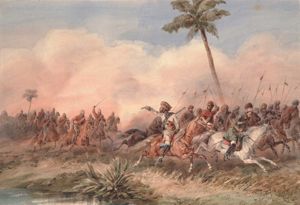 The 2nd Dragoon Guards, the Queen's Bays, lead the Lucknow mutineers near Hyderabad Road, Orlando Norie, 1859. Brown University Library / Wiki Commons.
