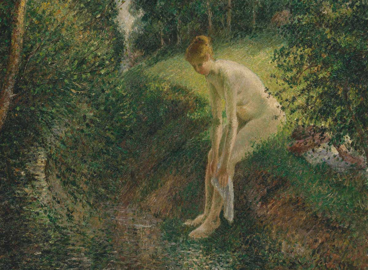 Bather in the Woods (detail), Camille Pissarro, 1895. Metropolitan Museum of Art.