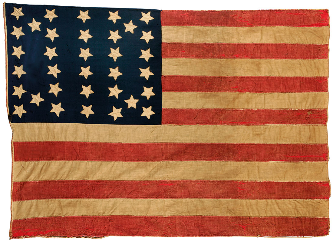 Flag of the United States of America with 34 stars, made of wool and cotton by Mrs John E. Forbes, 1861-63.