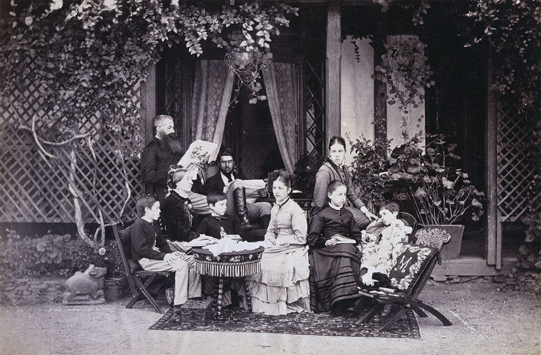 Having a laugh: an English family at morning tea in Simla, India, 1871.