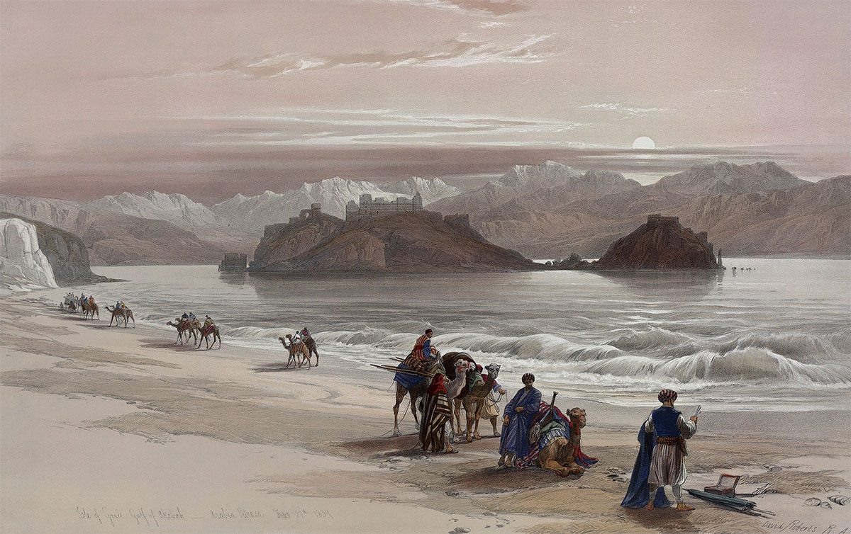 A trade caravan passing the Isle of Graia in the Gulf of Akabah, Arabia Petraea, 1839.