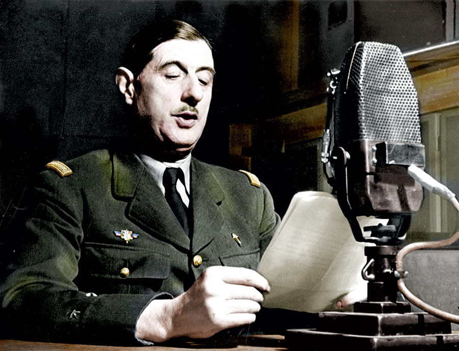General de Gaulle on 18 June 1940 in the recording studio of the BBC at Broadcasting House, London.