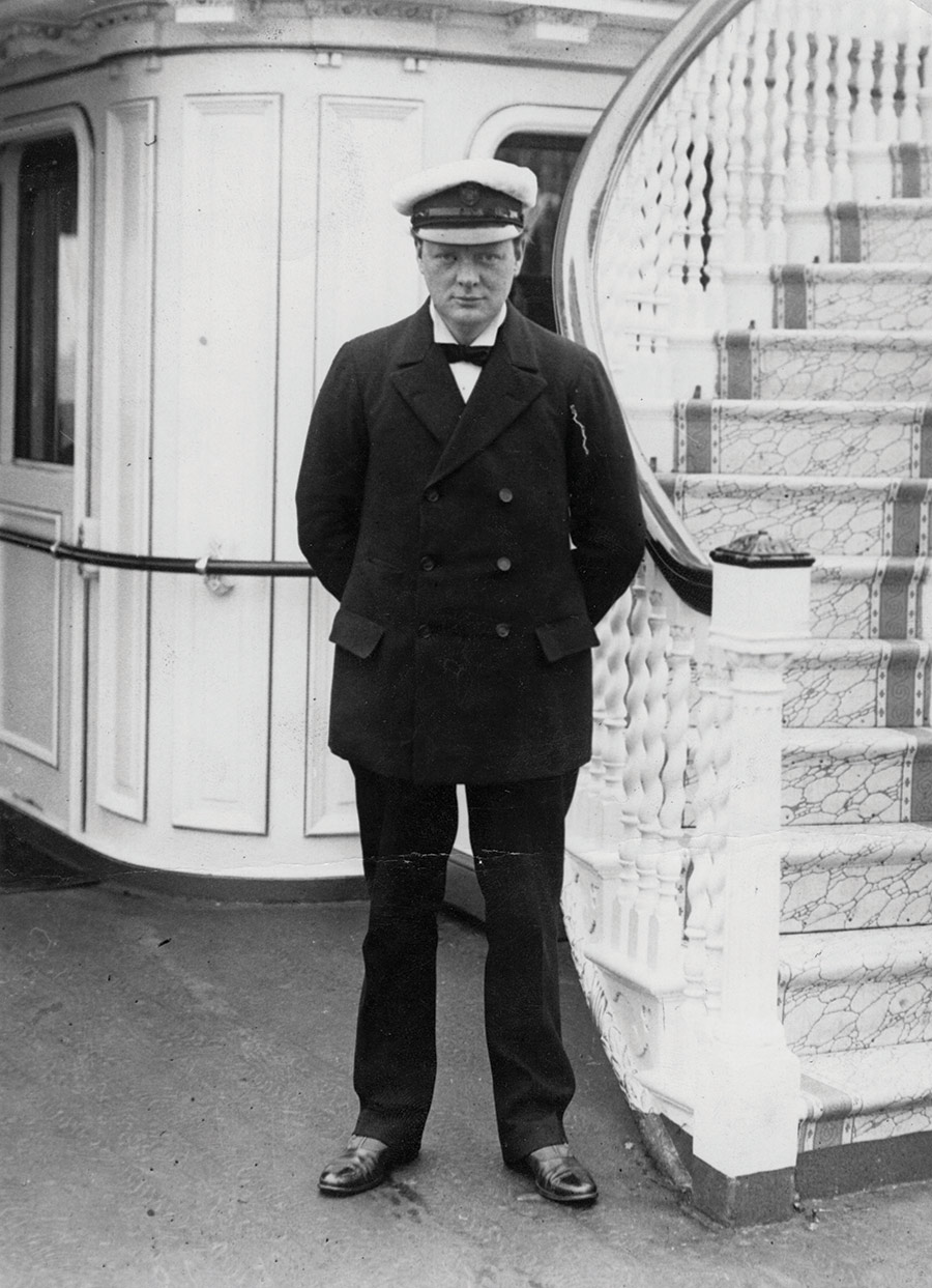 Winston Churchill, First Lord of the Admiralty, on board the Royal Yacht, 1912.