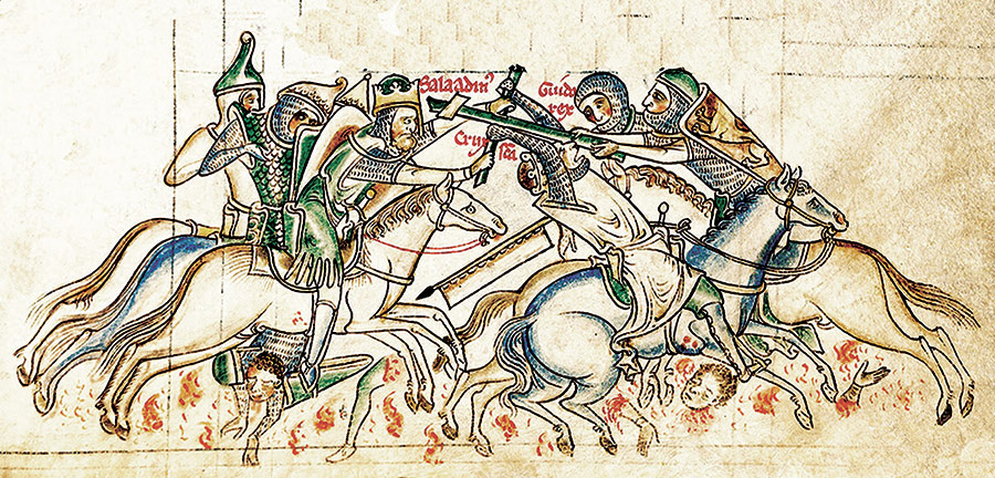 Guy de Lusignan and Saladin in Battle / Mathew Paris, c.1250