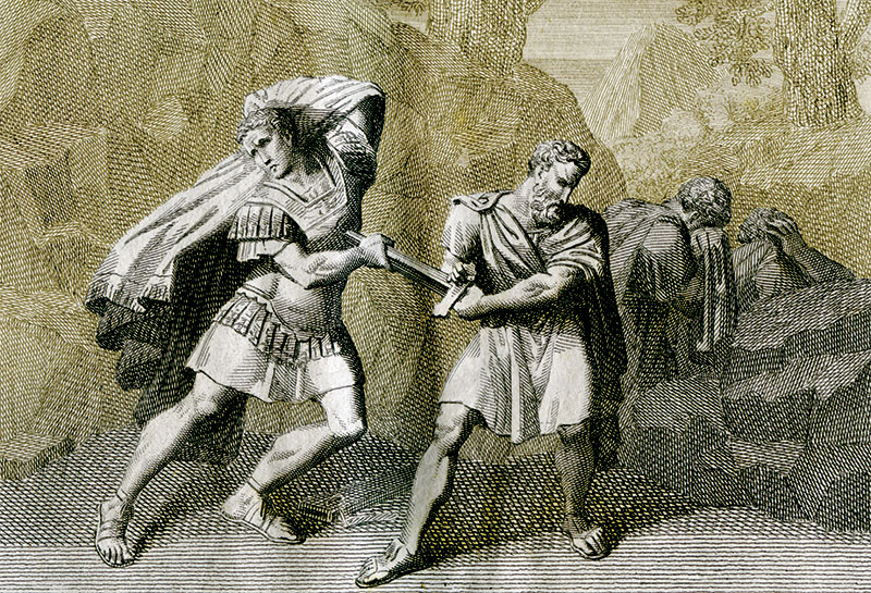 The death of Brutus following the Battle of Philippi, 19th-century engraving.