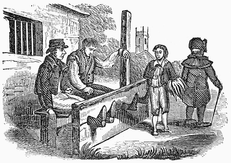 Men sitting in the stocks in colonial America, wood engraving, 1838