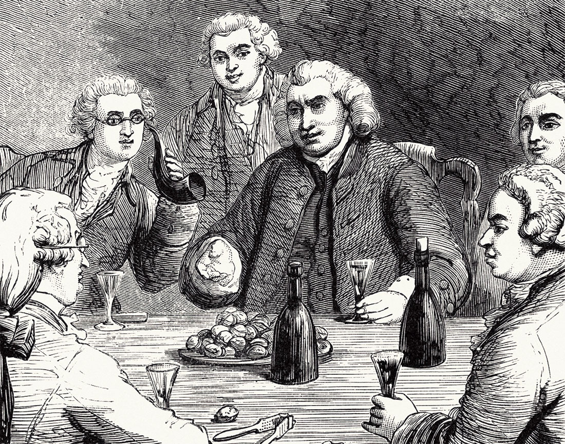 Dr Johnson and his friends, 19th-century engraving.