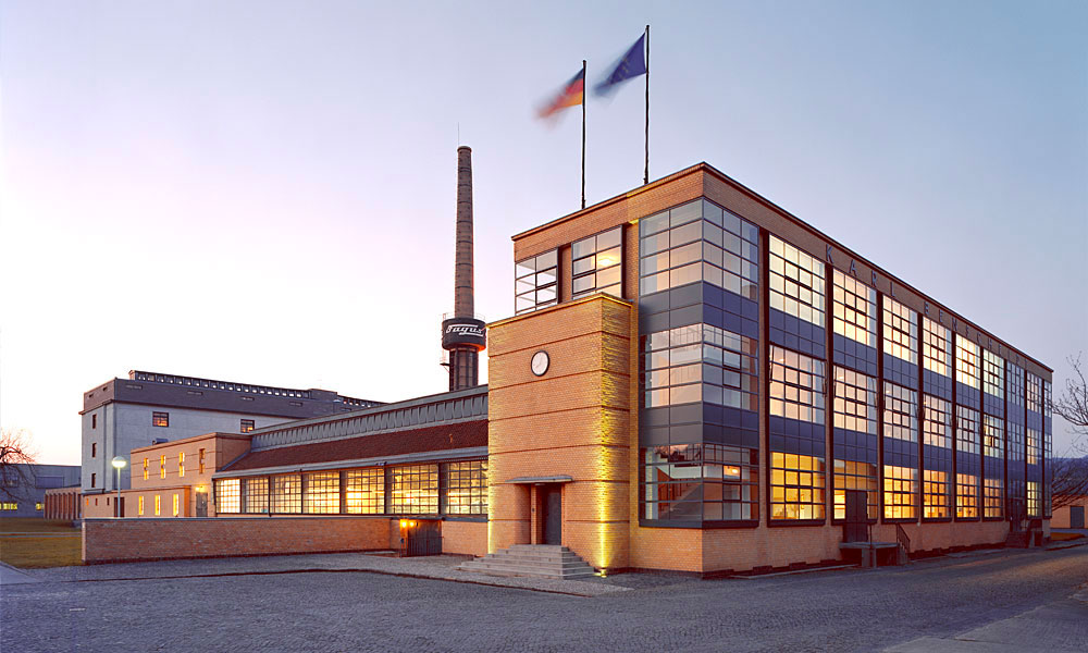 The Fagus factory in Alfeld, Lower Saxony, Germany, designed by Walter Gropius and Adolf Meyer.