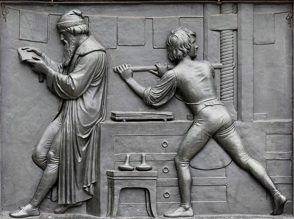 Bronze relief panel from the Gutenberg Monument in Mainz, by David d'Angers, 1840.