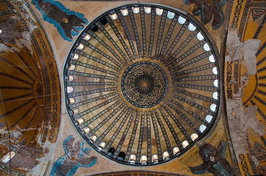 Ceiling mosaics and pendentives of Hagia Sophia in Istanbul.