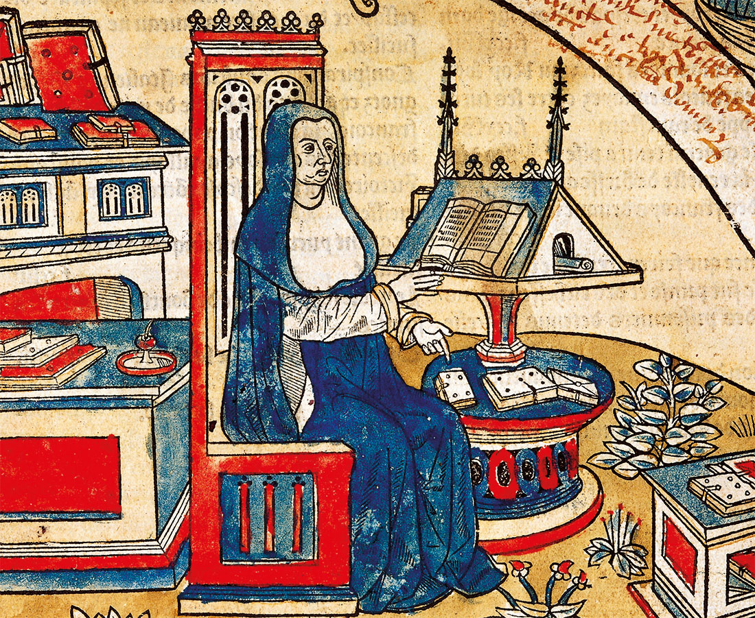 Miniature of woman reading, from the Chronicles of the King of France, by Robert Gaguin, Paris, 1514.