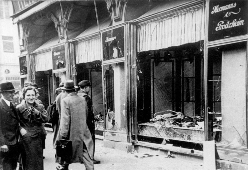 Shop damage following Kristallnacht