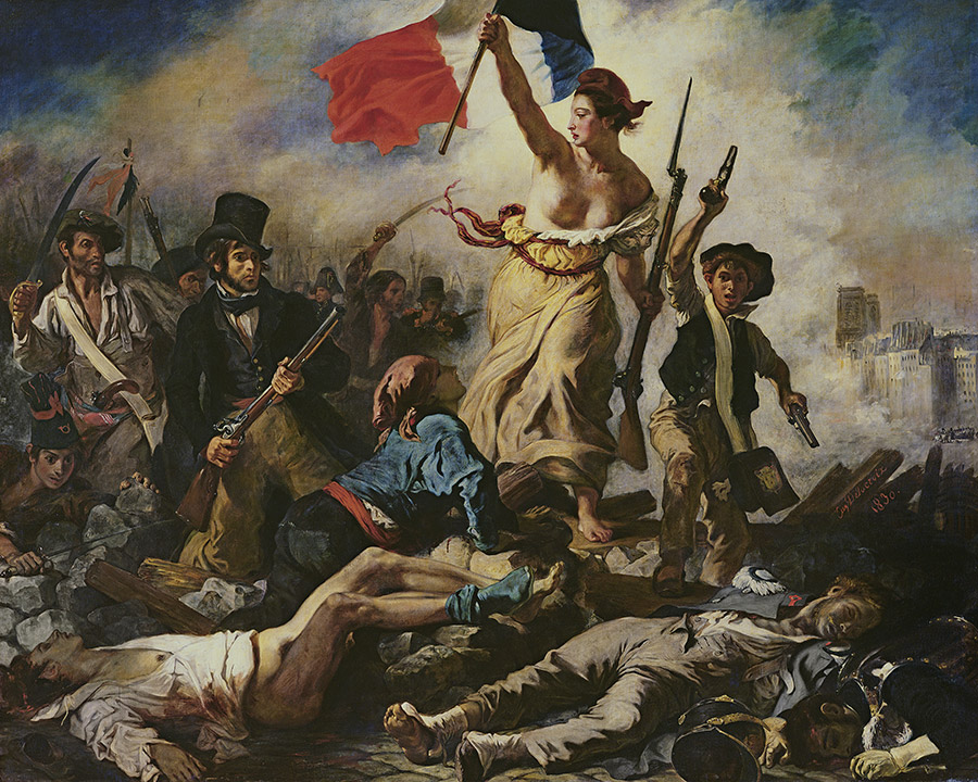 Liberty Leading the People, 30 July 1830, by Eugène Delacroix (1798-1863), painted 1830-31.