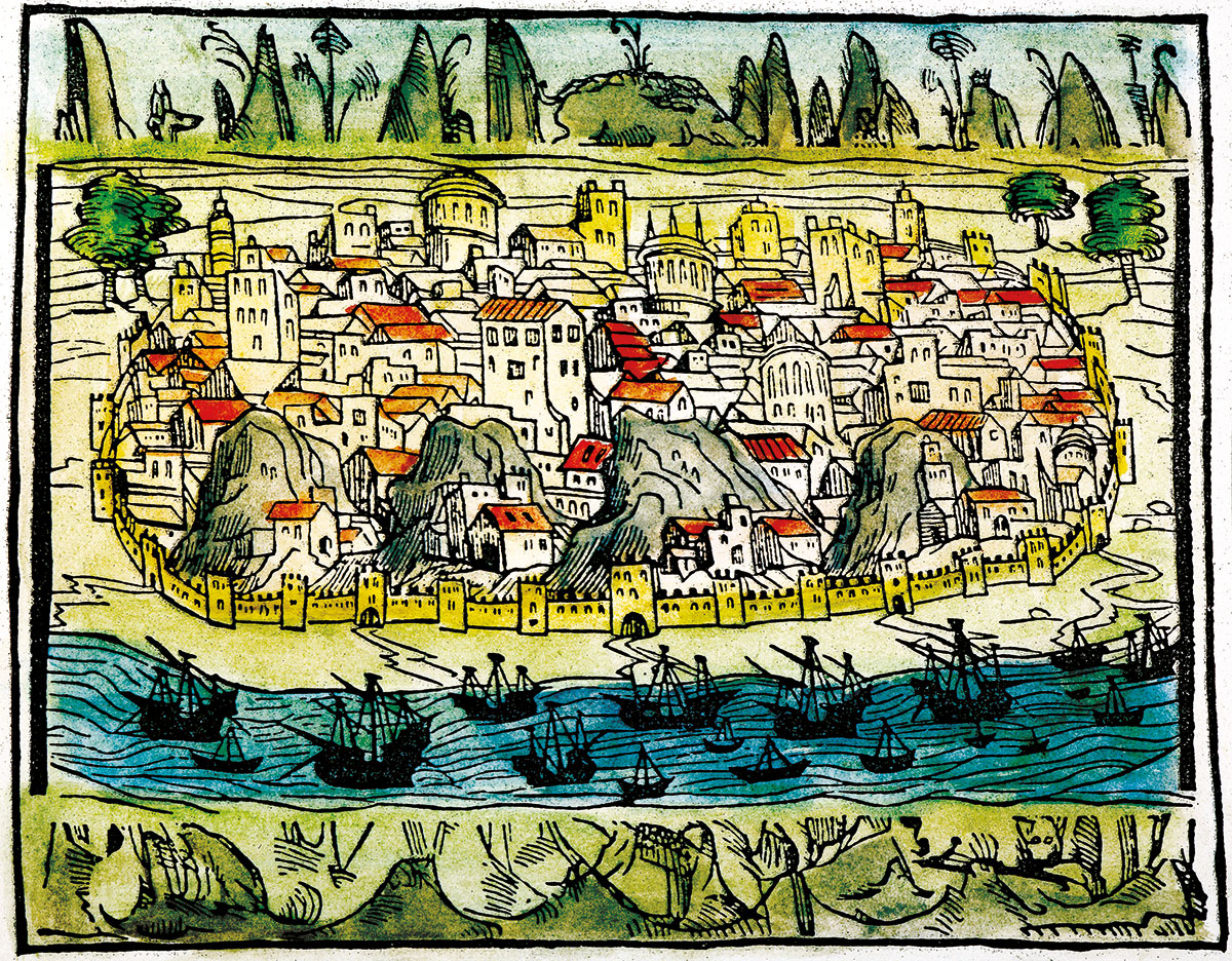 City by the sea: a view of Lisbon, 1548, Spanish woodcut.
