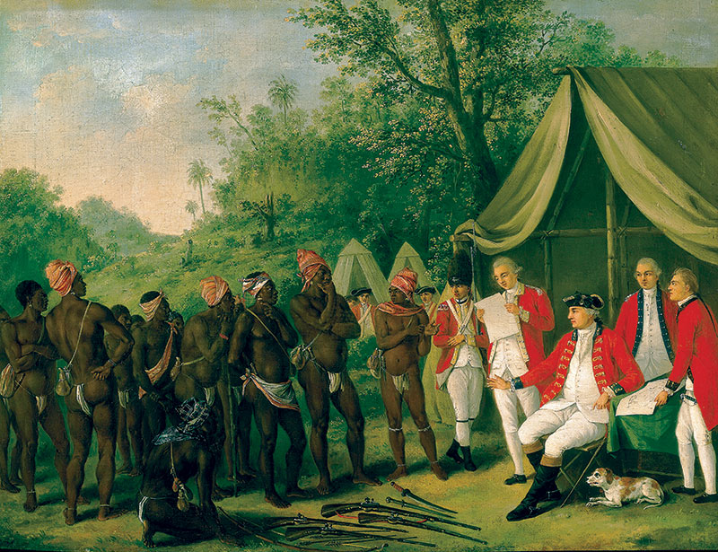 Pacification with Maroons on the Island of Jamaica, by Agostino Runias (1728-96).