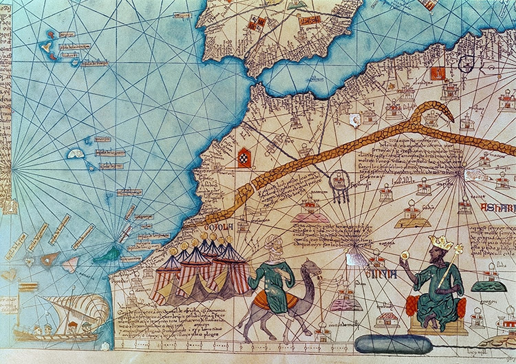 Between the seas: detail from the Catalan Atlas, 1375