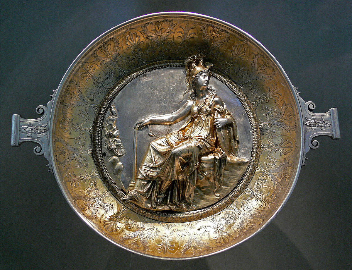 Raised-relief image of Minerva on a Roman gilt silver bowl, first century BC.