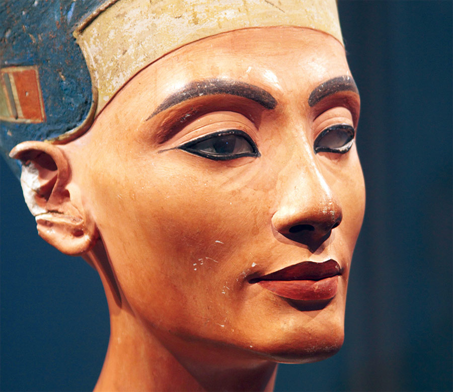 Bust of Nefertiti, probably crafted in the Tuthmose workshop in about 1345 BC.