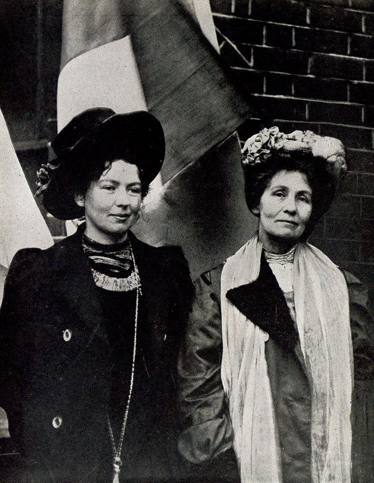 Christabel (left) and Emmeline Pankhurst in 1903.