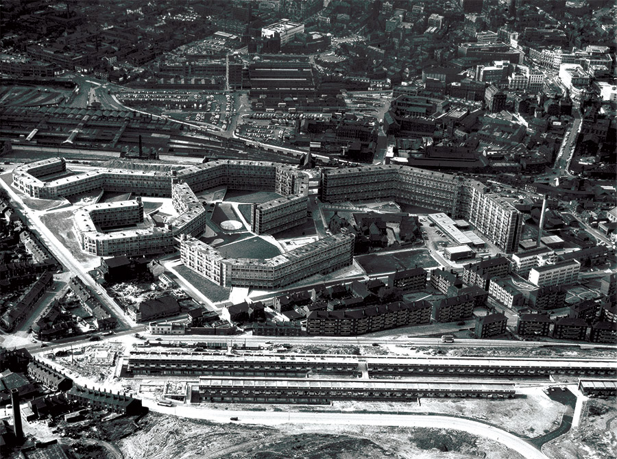 Aerial view of the Park Hill Estate, Sheffield, built between 1957 and 1961.