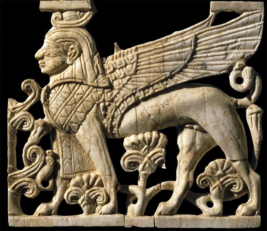 An open-work ivory panel of a human-headed sphinx, c.900-700 BC, found at Fort Shalmaneser in northern Iraq.
