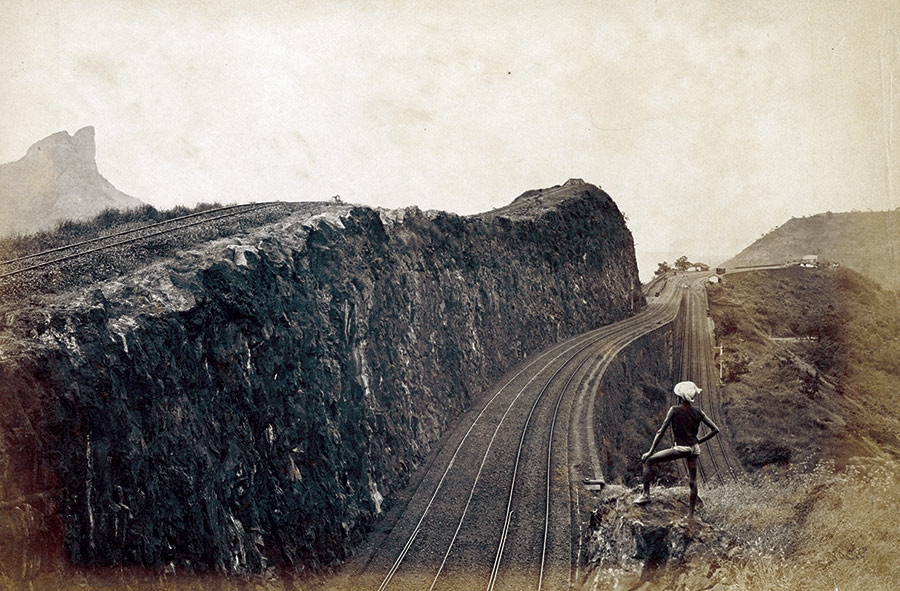 Bhor Ghat Railway at Maharashtra, on the crest of the Western Ghats, India, 1883.