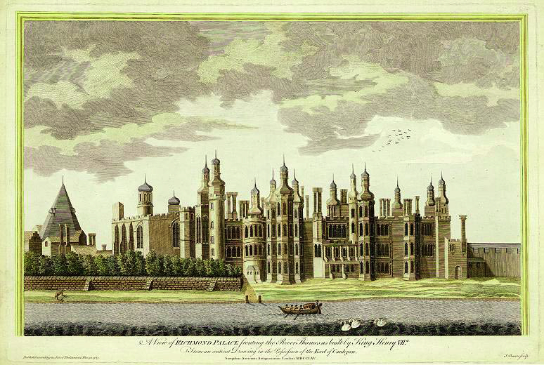 Richmond Palace, 1765 engraving by James Basire, 'based on an ancient drawing'.