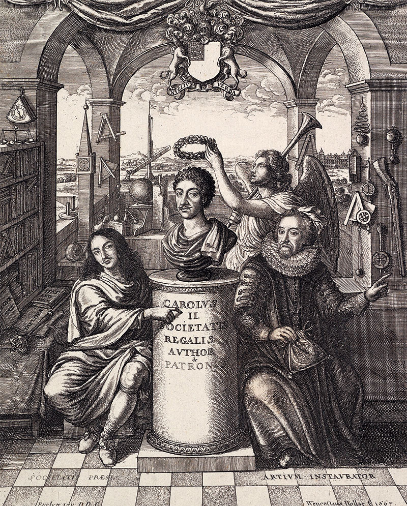 The frontispiece to Thomas Sprat's History of the Royal Society, 1667.