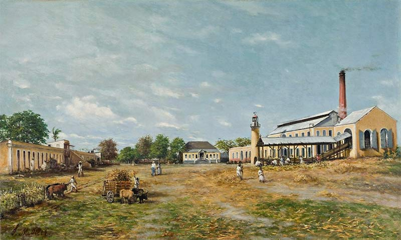 Hacienda La Fortuna. A sugar mill complex in Puerto Rico, painted by Francisco Oller in 1885