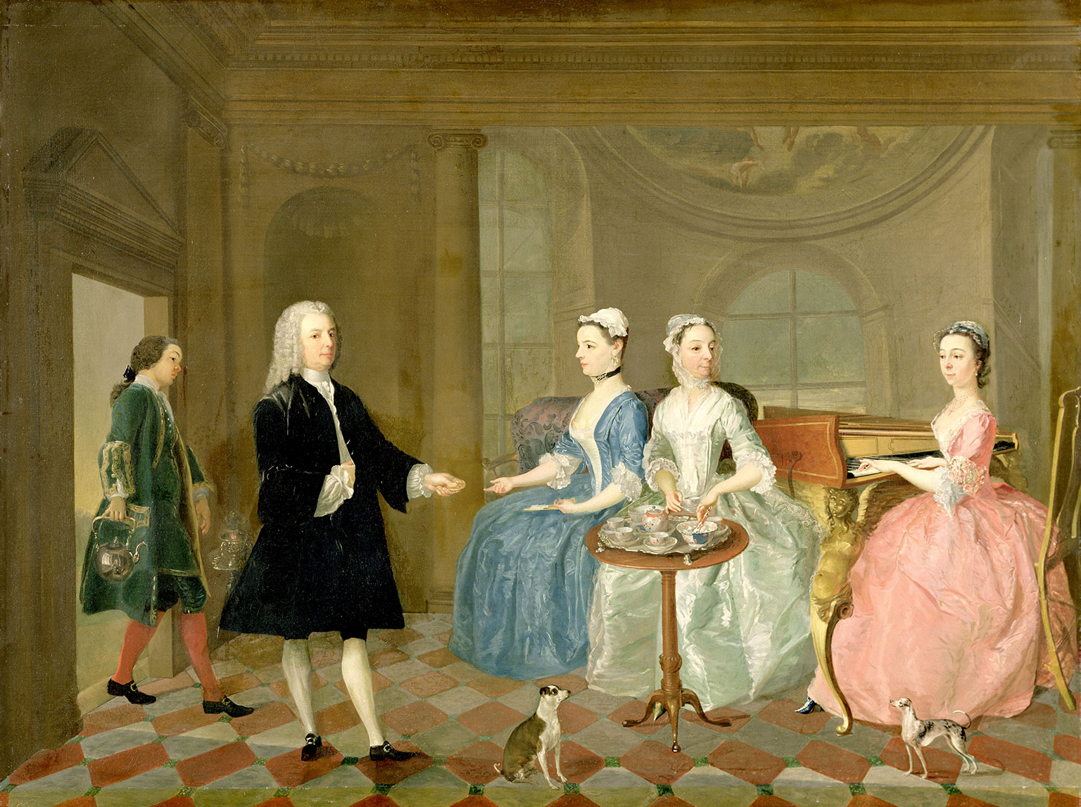 A family being served tea, c.1740 (oil on canvas), English School 18th century