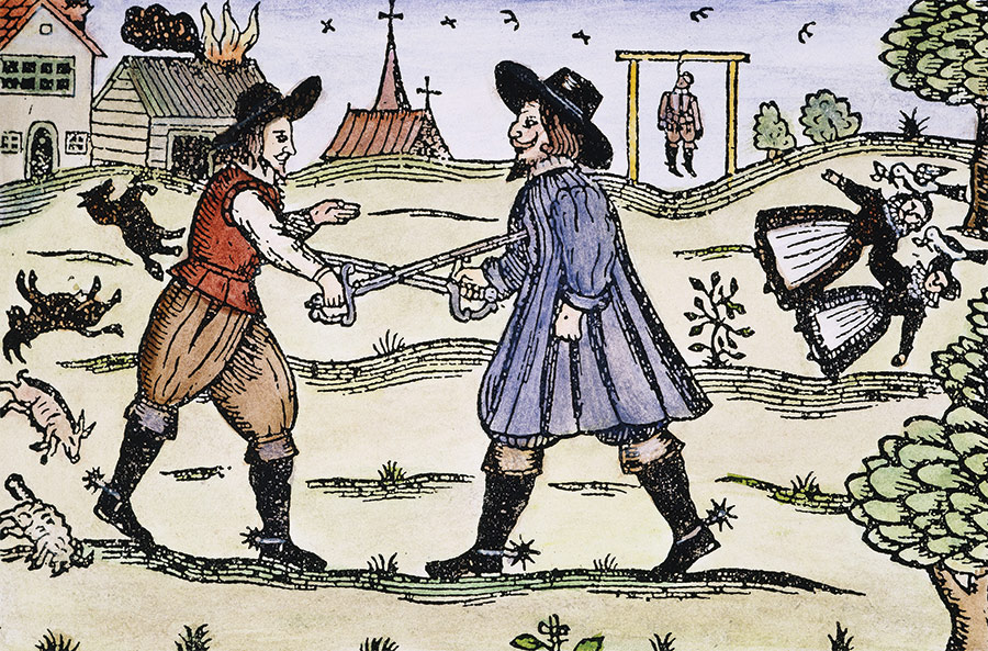 The Babes in the Wood ballad, coloured woodcut, 1595.