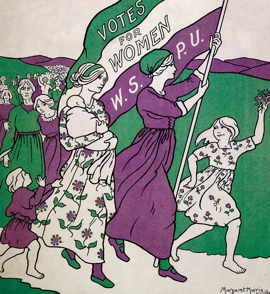 Detail from the song sheet of Ethyl Smyth's The March of the Women, by Margaret Morris (1911).